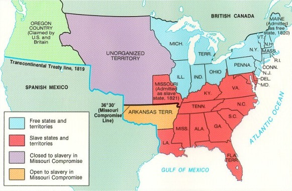 Missouri Compromise - Blank us map 1820